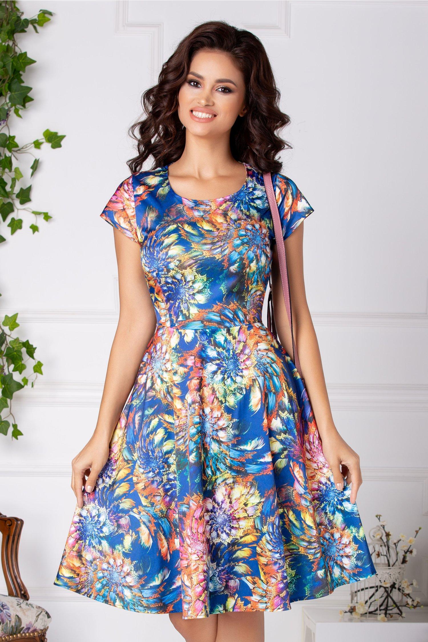 Rochie Lexa albastra cu imprimeu multicolor