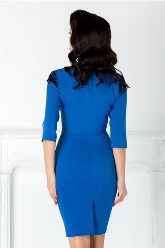 Rochie Lexxy albastru cu aplicatii din dantela