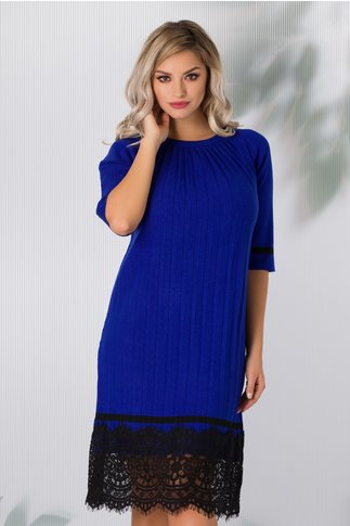 Rochie Lia albastra din tricot plisata cu dantela la baza