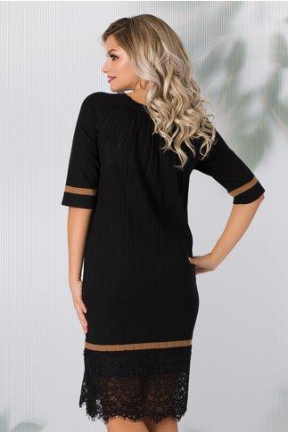 Rochie Lia neagra din tricot plisata cu dantela la baza
