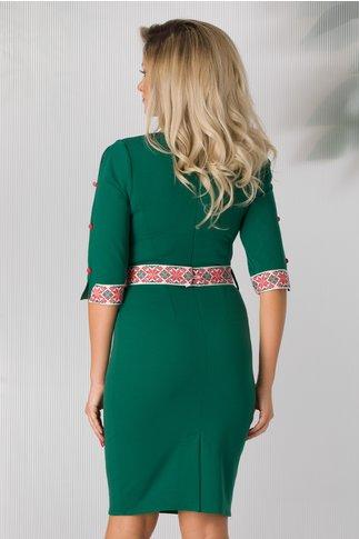 Rochie Lia verde cu aplicatii traditionale pe maneci