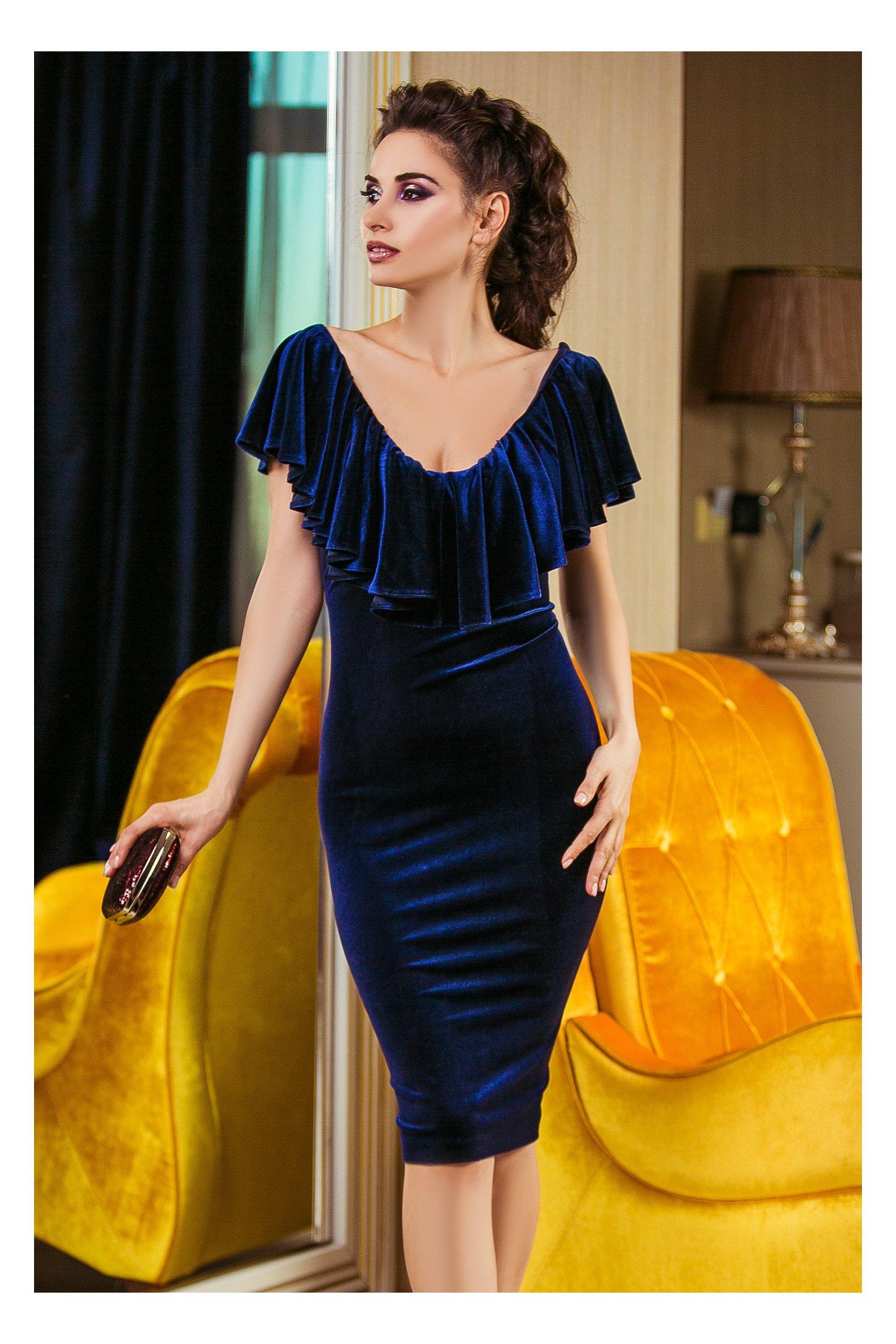Rochie Liana Bleumarin din Catifea Eleganta