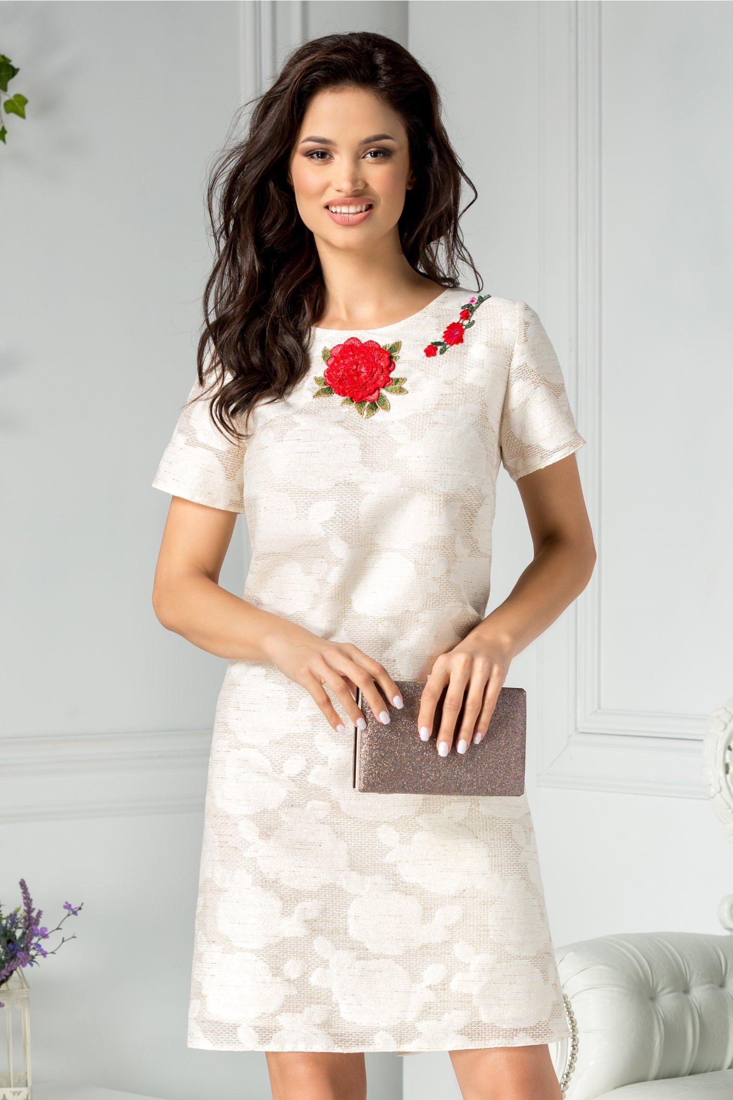 Rochie Liana din in cu trandafiri