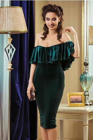 Rochie Liana Verde din Catifea de Ocazie