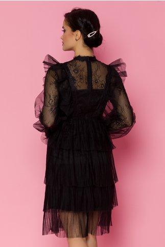 Rochie Lidia neagra din dantela cu fusta din tull