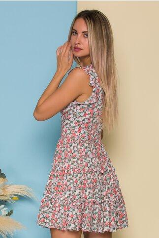 Rochie Lidia roz cu trandafiri