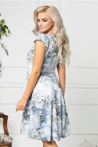 Rochie Lidiane gri de vara cu floricele albe