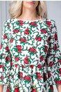 Rochie Liliane alba cu motive florale si spatele gol