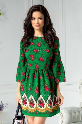 Rochie Ladonna Liliane verde cu motive florale si spatele gol