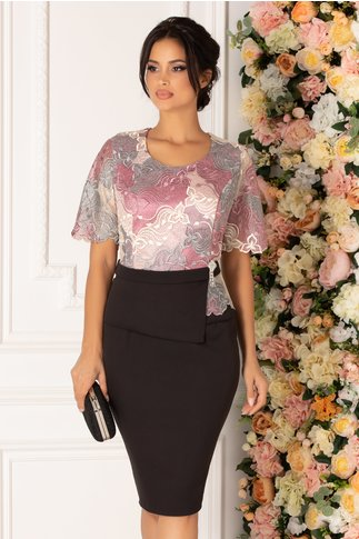 Rochie Lily neagra cu broderie florala in nuante pastelate la bust si peplum in talie