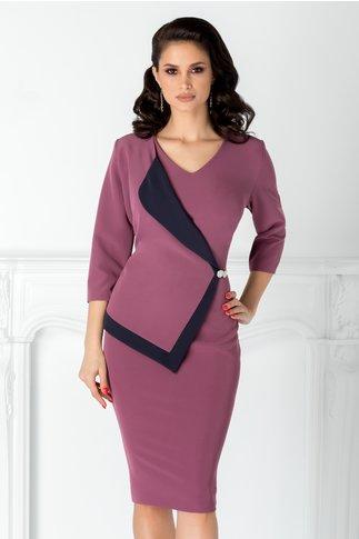Rochie Linda de ocazie lila cu rever stil sacou