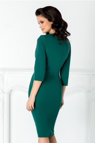 Rochie Linda de ocazie verde cu rever stil sacou