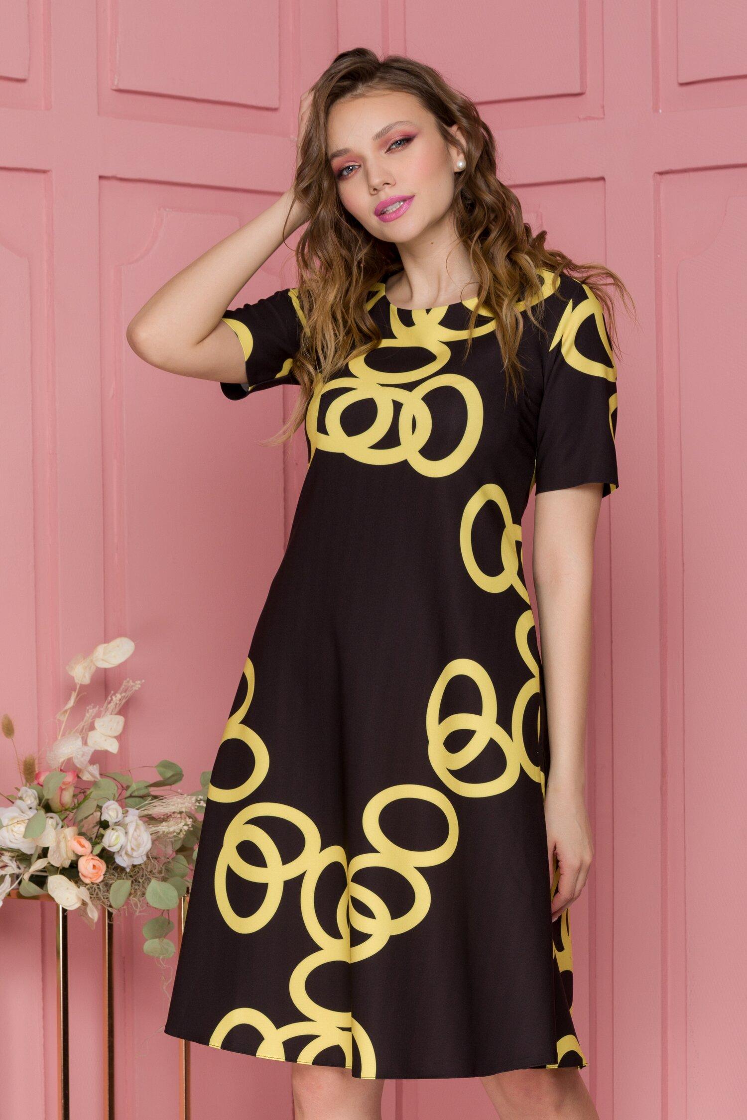 Rochie Livia neagra cu imprimeu geometric galben