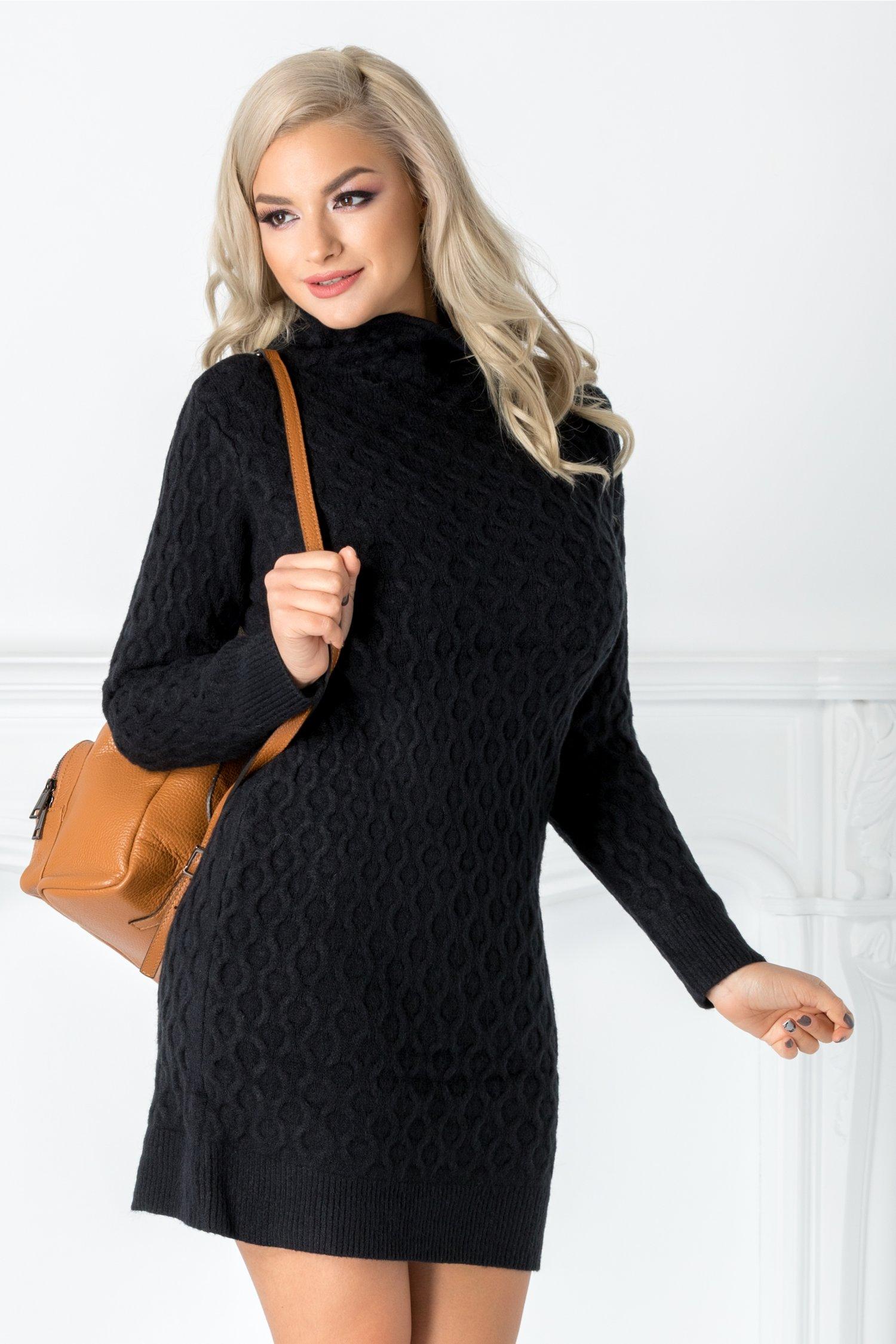 Rochie Livia neagra din tricot