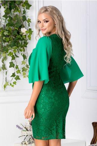 Rochie Liza verde din dantela cu maneci din voal