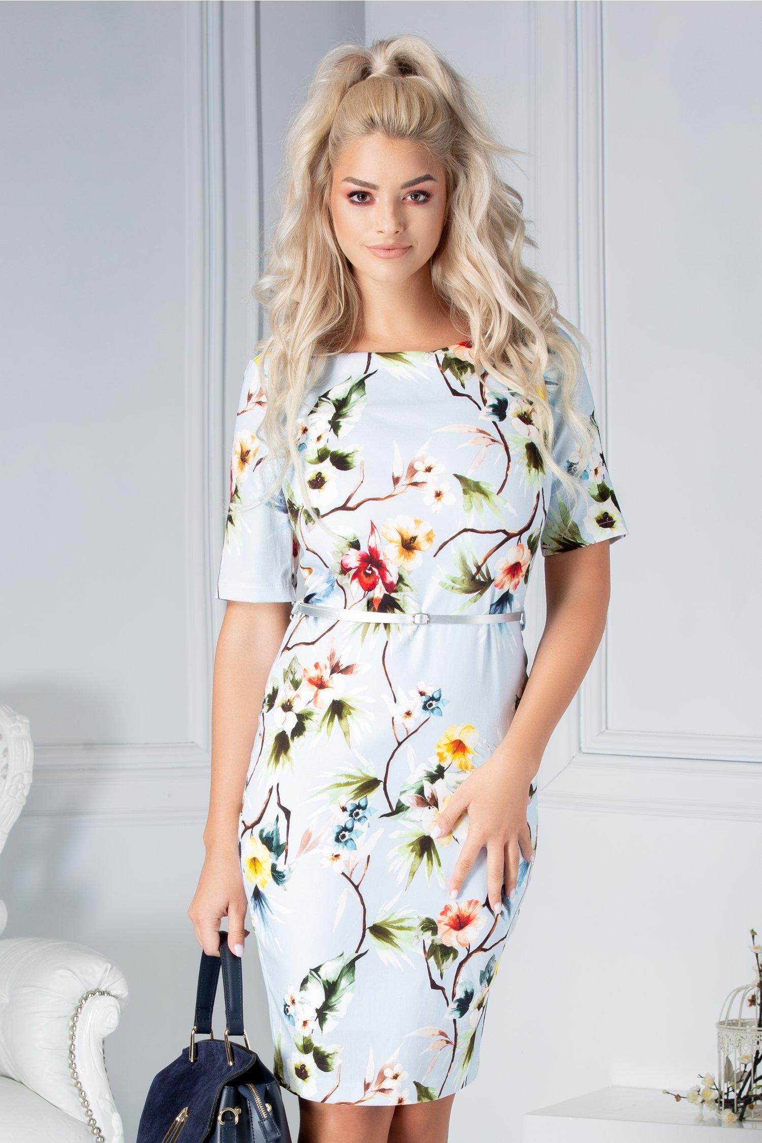 Rochie Lize tte bleu cu imprimeu floral colorat