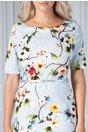 Rochie Lizette bleu cu imprimeu floral colorat