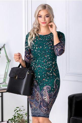 Rochie Lony verde cu animal print bleumarin