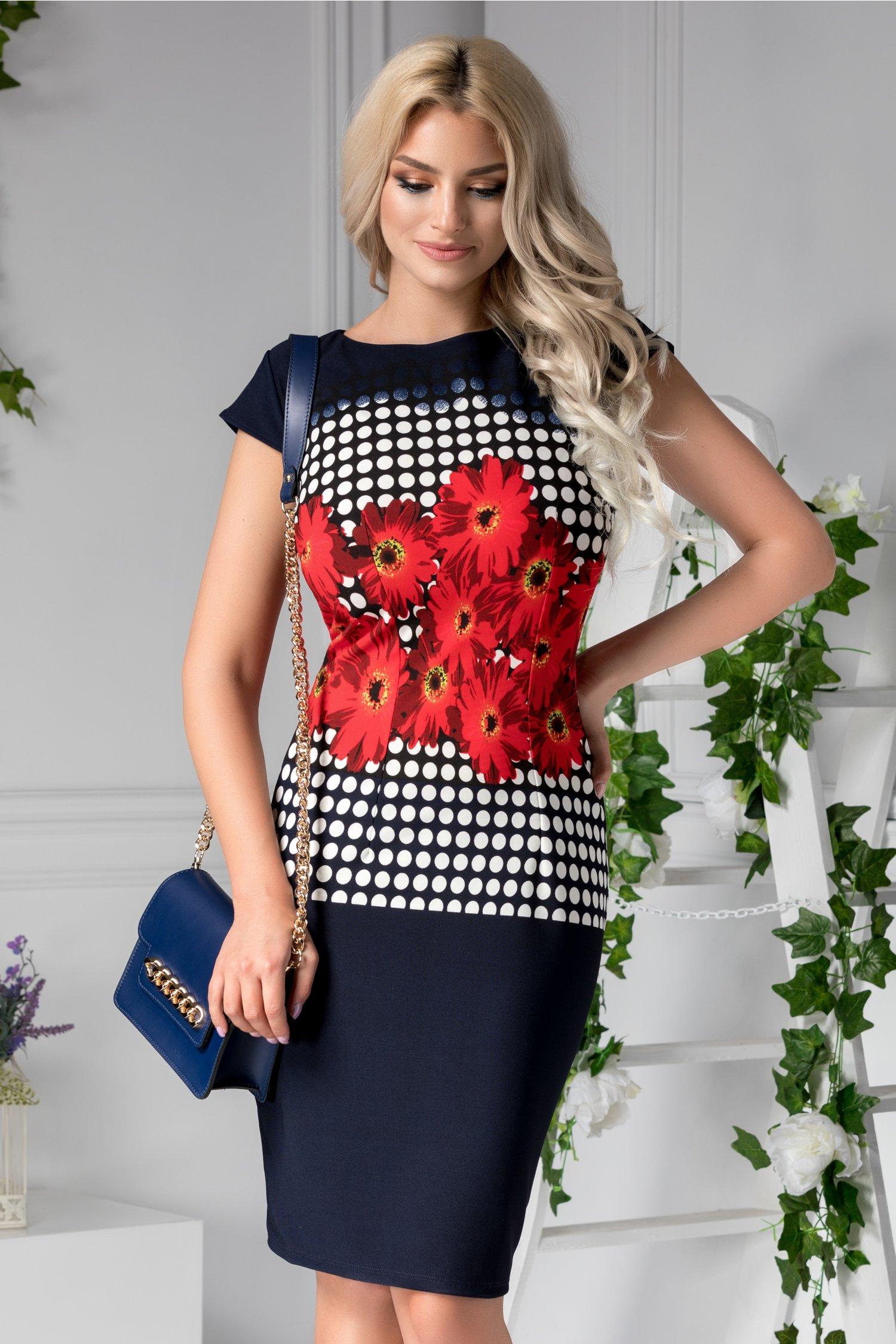 Rochie Lora bleumarin cu flori si buline