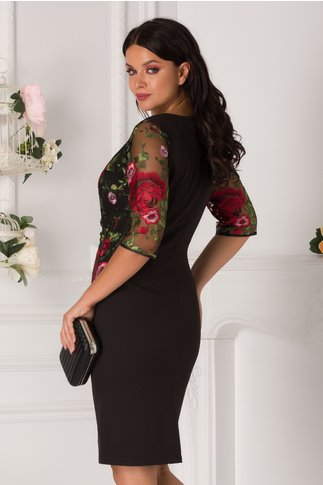 Rochie Lora neagra cu broderie florala verde si trandafiri rosii