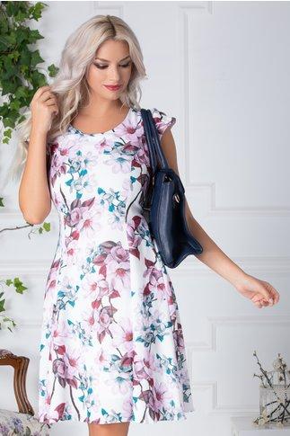 Rochie Lore alba cu flori mari roz