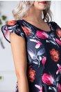 Rochie Lore bleumarin cu flori fucsia si corai