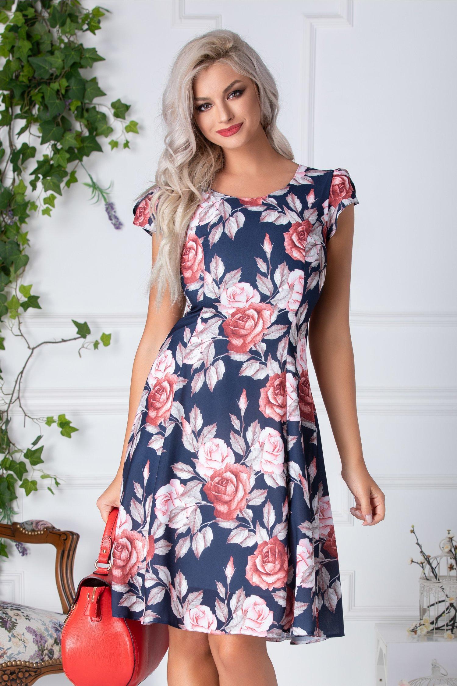 Rochie Lore bleumarin cu trandafiri roz si caramizii