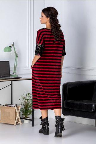 Rochie Lore lunga rosie cu dungi negre casual
