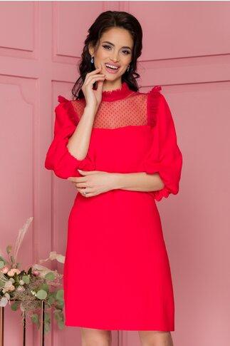 Rochie Lore rosie cu tull la bust