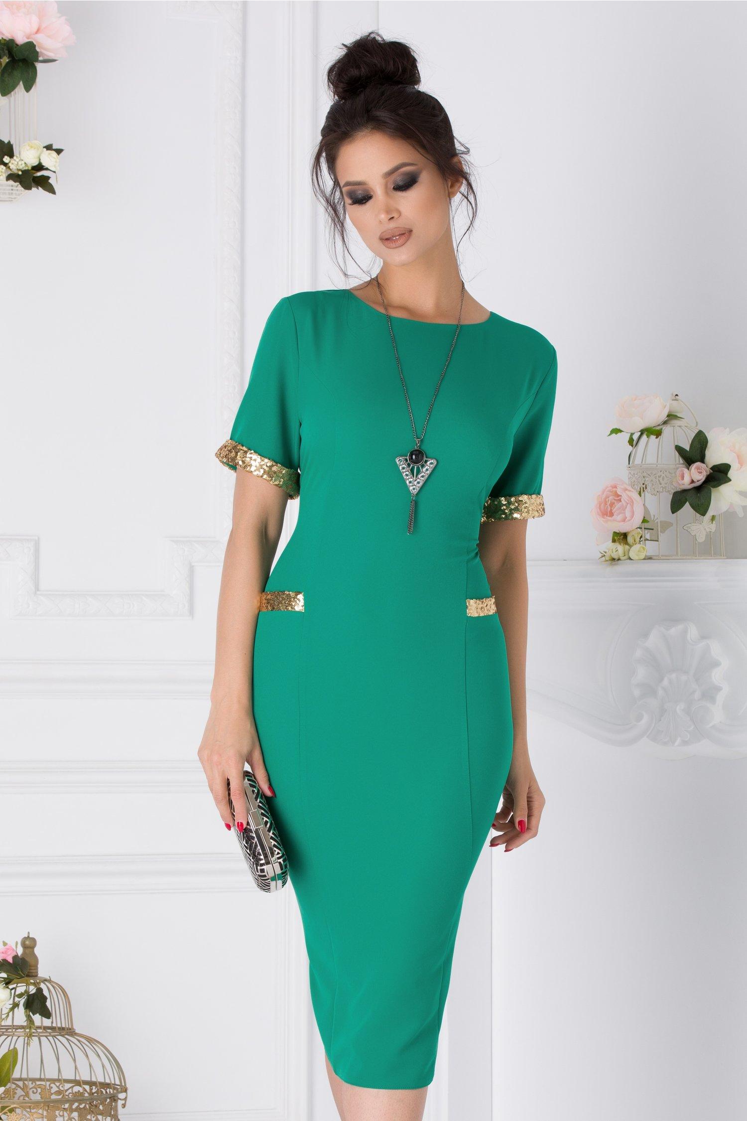 Rochie Lore verde cu paiete aurii