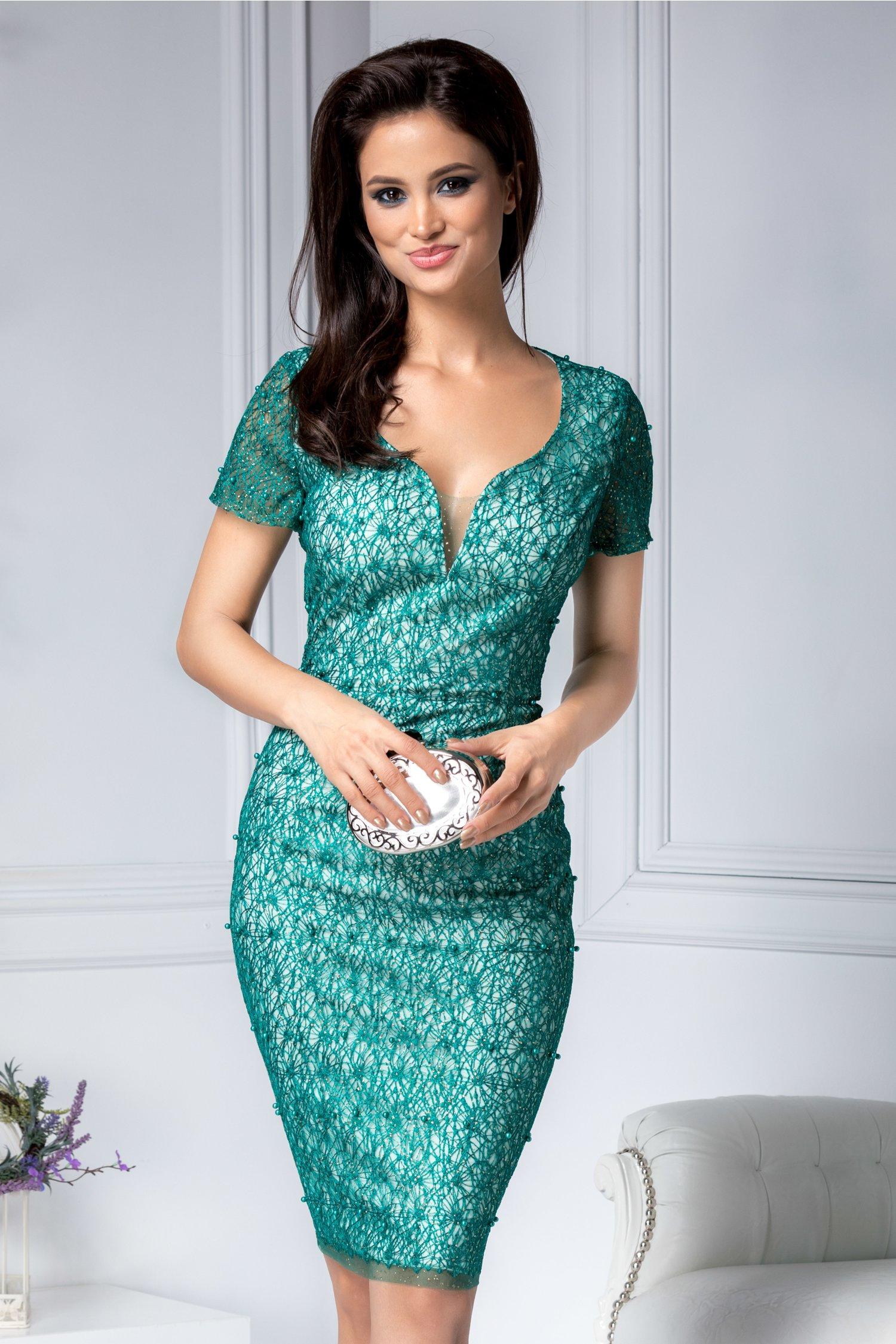 Rochie Loredana verde cu sclipici si perlute