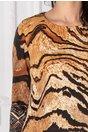 Rochie Lorelai bej cu imprimeu maro