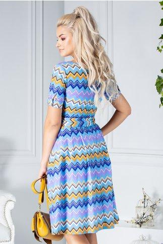 Rochie Lorelai de zi bleu cu imprimeu zig-zag