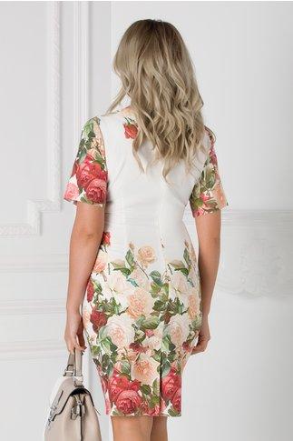 Rochie Lorena alba cu imprimeu floral