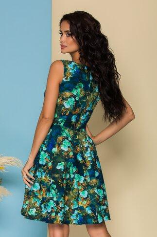 Rochie Lorena bleumarin cu imprimeu floral turcoaz