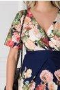 Rochie Lorena bleumarin cu trandafiri