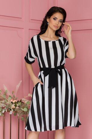 Rochie Lorena cu imprimeu dungat alb-negru