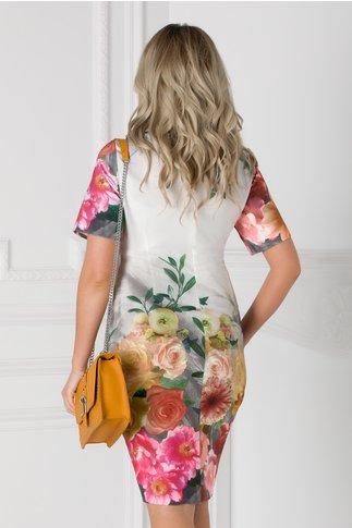 Rochie Lorena gri cu imprimeu floral