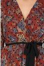 Rochie Lorena maro cu insertii catifelate negre
