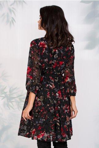 Rochie Lorena neagra cu insertii florale catifelate