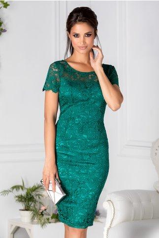 Rochie Lorra conica verde din dantela