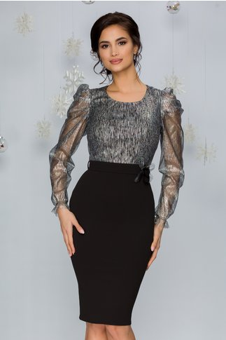 Rochie Lorre neagra cu insertii argintii la bust si brosa 3D