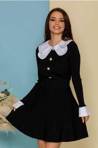 Rochie Louisa neagra cu guler si mansete albe