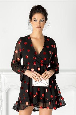 Rochie Louise neagra cu buline rosii