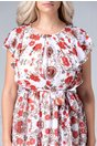 Rochie Louisse alba cu imprimeu floral rosu