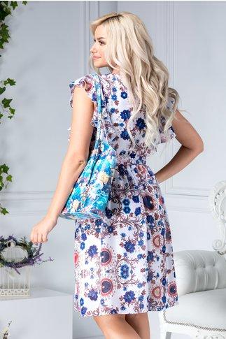Rochie Louisse vaporoasa alba cu flori albastre