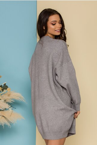 Rochie Love gri casual oversize din tricot