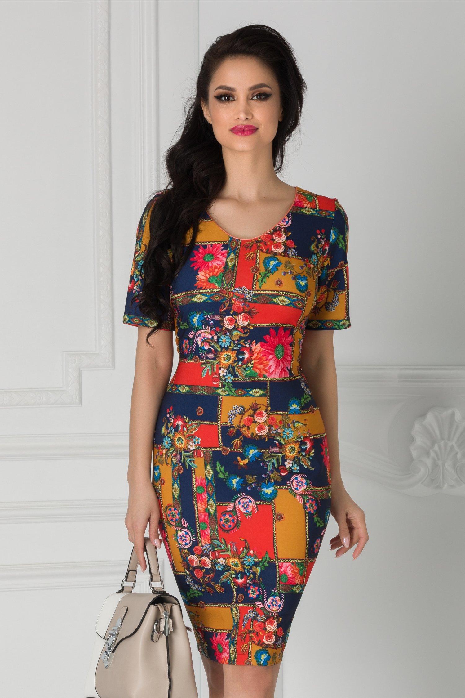 Rochie Luana bleumarin cu imprimeu divers si floricele