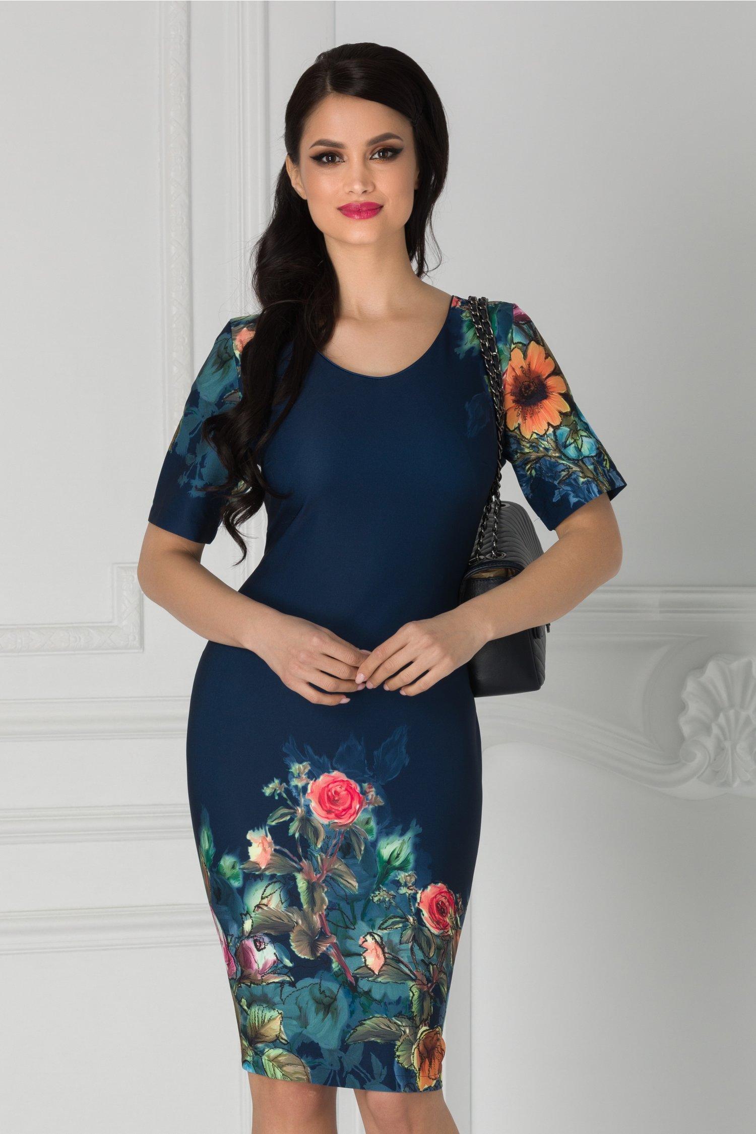 Rochie Luana bleumarin cu imrimeu floral la baza si maneci