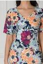 Rochie Luana cu imprimeu floral orange